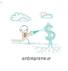 entrepreneur watering from a hose Dollar vector image vector image