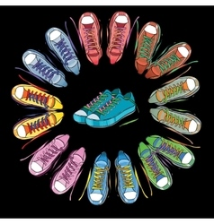 Sport shoes sneakers round on vector image vector image