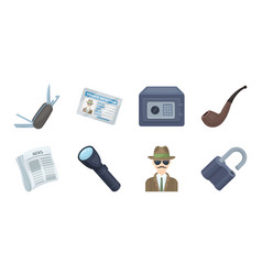 detective and attributes icons in set collection vector image vector image