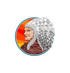 Native American Indian Chief Warrior Low Polygon vector image vector image