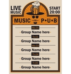 poster for the pub with live music vector image
