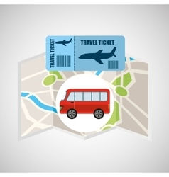 airline ticket map travel bus transportation vector image