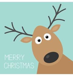Cute cartoon deer face with horn Merry christmas vector image