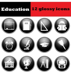 Set of education glossy icons vector image