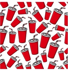 Fast food soda paper cups seamless pattern vector image