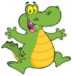 Happy alligator jumping vector