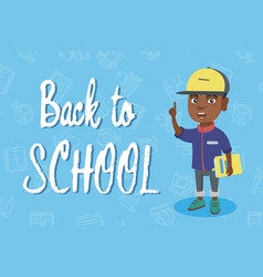 little african schoolboy pointing forefinger up vector image vector image