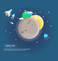 mercury venus and earth of solar system design vector image