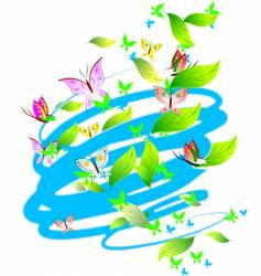 pastel colors butterflies leaves scrolls vector image vector image