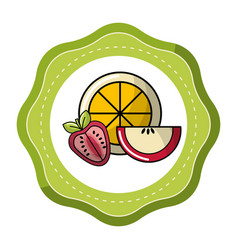 sticker orange strawberry and apple fruit icon vector image