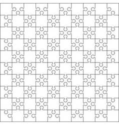 100 Jigsaw puzzle blank template or cutting guidel vector