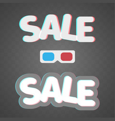 3d effect anaglyph of sale icons on transparent vector