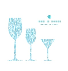 Abstract frost swirls texture three wine glasses vector