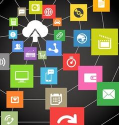 Abstract web scheme cloud technology vector