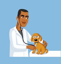 african veterinarian examining cute dog vector image