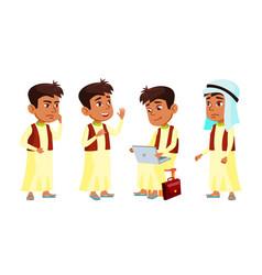 Arab muslim boy schoolboy kid poses set vector