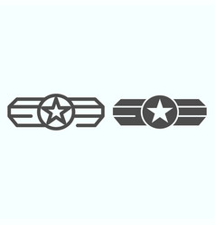 Army epaulet line and glyph icon military rank vector