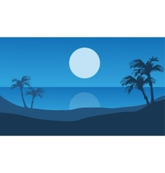 At night beach scenery beautiful vector
