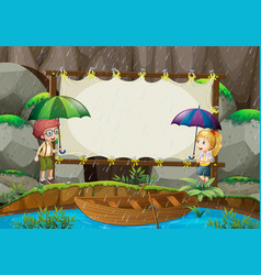 Banner template with kids in the rain vector
