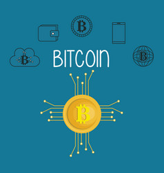 bitcoin with set icons vector image