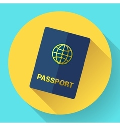 Blue international passport with globe vector