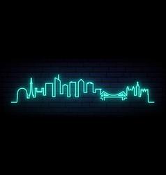 Blue neon skyline lyon bright lyon city long vector