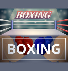 Boxing ring banner set cartoon style vector