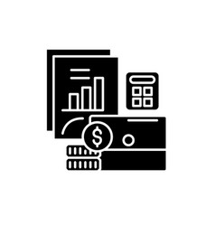 budget planning black icon sign on vector image