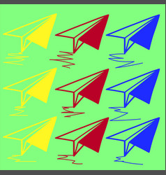 business icon with colored paper airplanes vector image