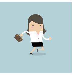 businesswoman running with her handbag vector image