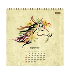 Calendar 2014 september Art horses for your design vector