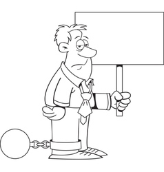 Cartoon ball and chain man with a sign vector