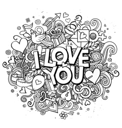 Cartoon hand drawn doodle i love you vector