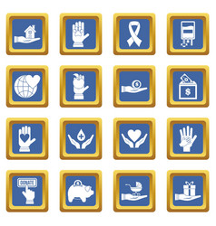 Charity icons set blue vector