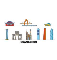 china guangzhou flat landmarks vector image