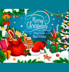 christmas greeting card of xmas gift and santa hat vector image