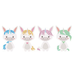 chubby unicorn mix vector image