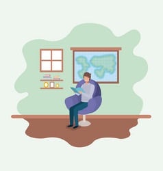 classroom with teacher reading book in the sofa vector image