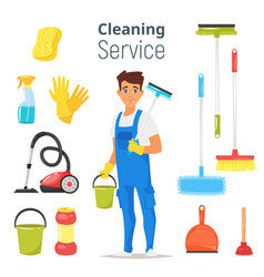 Cleaning service man character vector