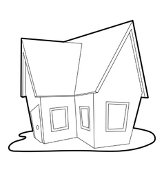 Cottage icon outline style vector