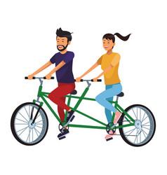 Couple in double bike vector
