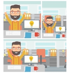 Creative excited man having business idea vector image