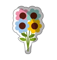 cute flowers isolated icon vector image