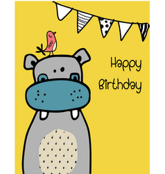 cute funny hippo with a bird vector image