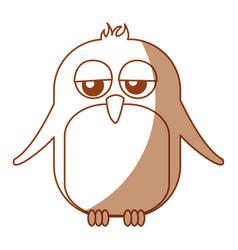 cute penguin sad kawaii character vector image