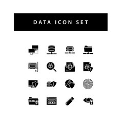 data sharing icon set with black color glyph vector image