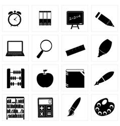 Different school icon silhouettes set3 vector image