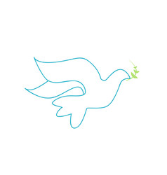 Dove on white background vector