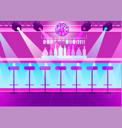 empty nightclub disco ball and bright spotlights vector image