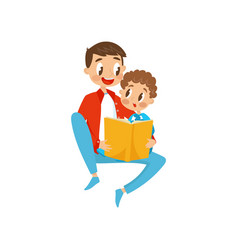 Father and son sitting on the floor and reading a vector